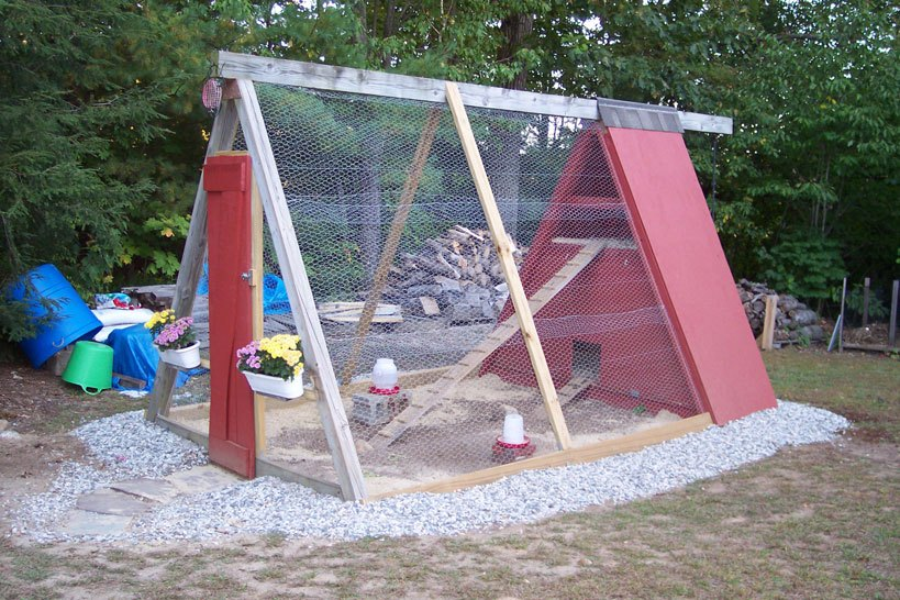 A-Frame Chicken Coop Plans Multi-level Swing Coop