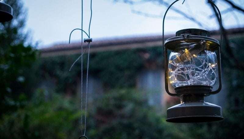 One hanging solar lanter in the garden