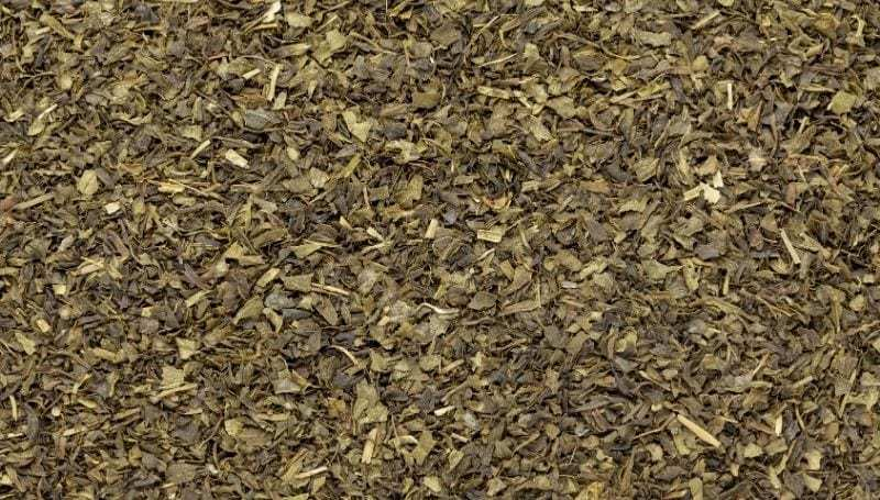 top view of shredded dried leaves