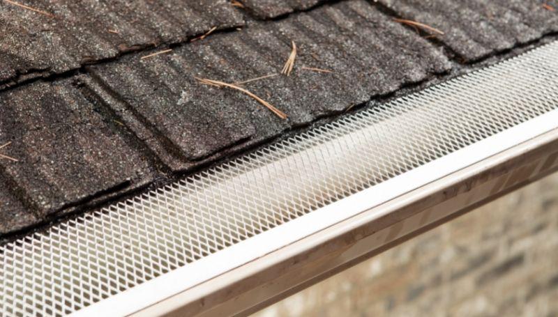 an installed mesh gutter guard