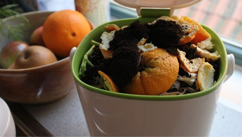 a white plastic kitchen countertop compost bin filled with food scraps including orange peels