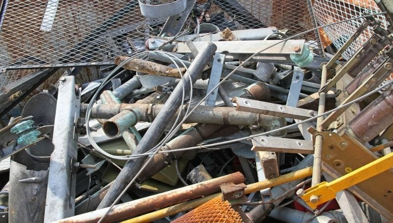 a pile of used steel for recycling