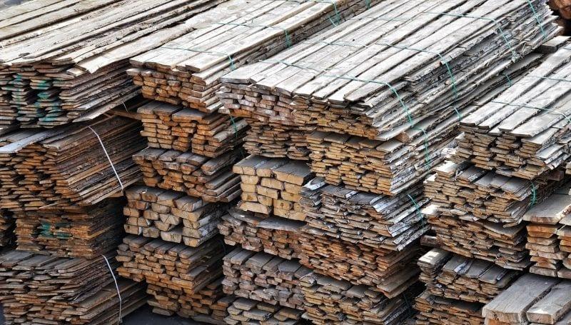 stacks of salvage wood
