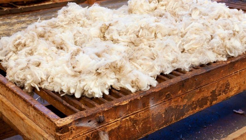 loose sheep wool on top of wooden/steel grate